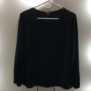 Black lace up blouse